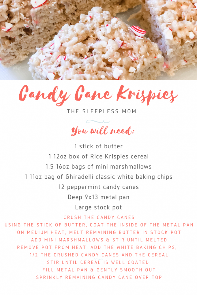 Candy Cane Rice Krispies recipe card