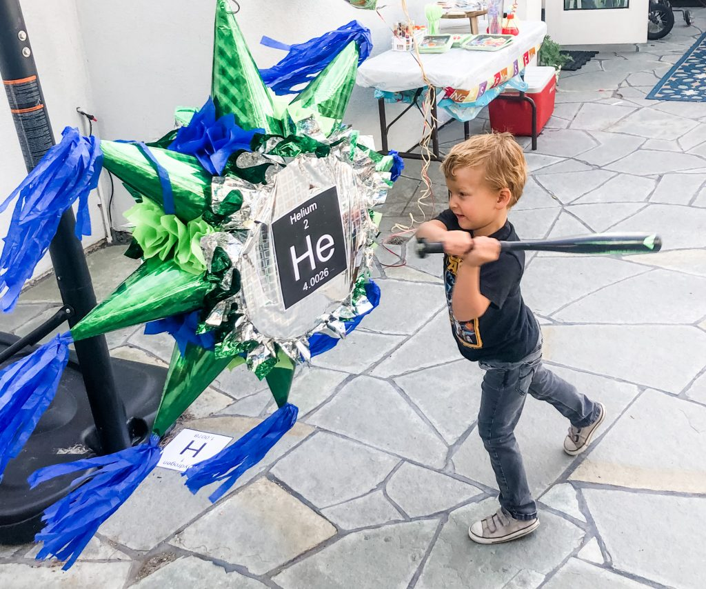 Party activity to have a mad science themed piñata