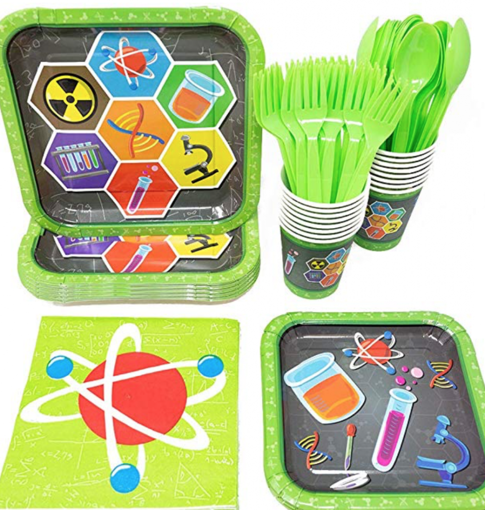 mad science themed tableware