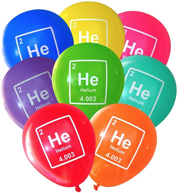 mad science themed periodic table balloons