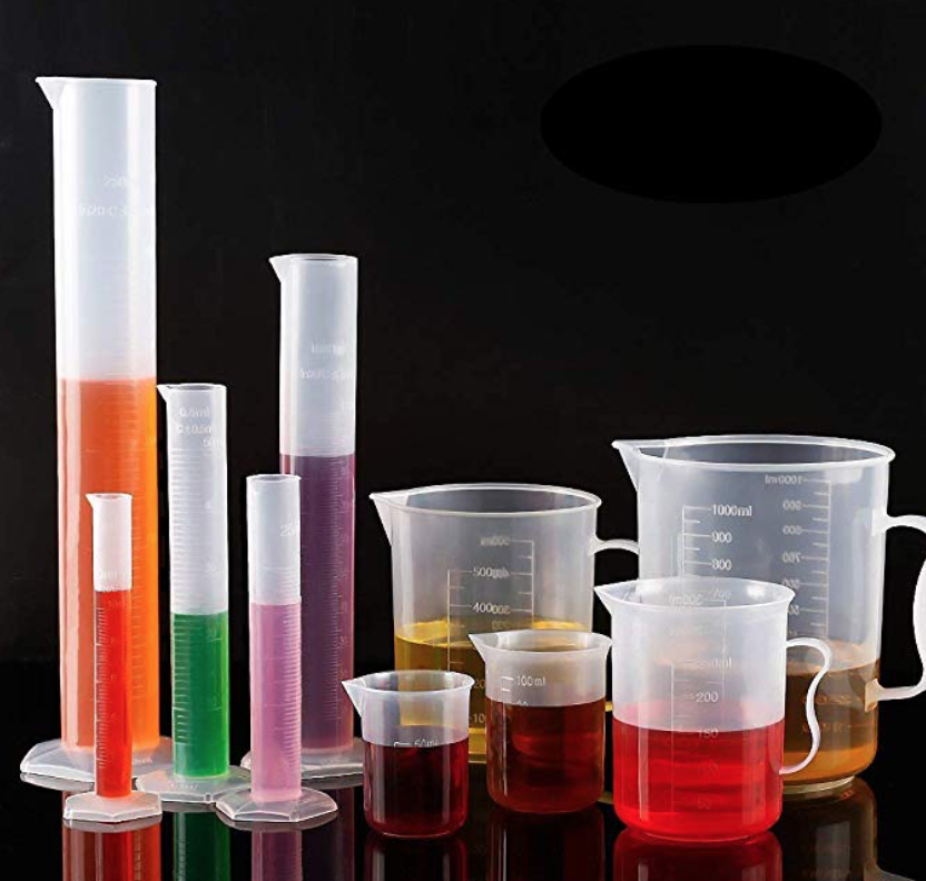 beakers & cylinders for science themed decor