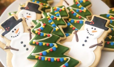 Christmas tree and Snowman Holiday sugar cookies